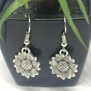 Silver Sunflower Earrings Dangle Minimalist NEW